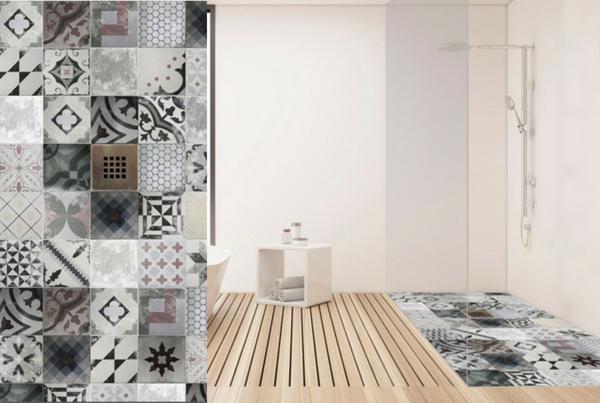 Plato de ducha azulejo vintage patchwork